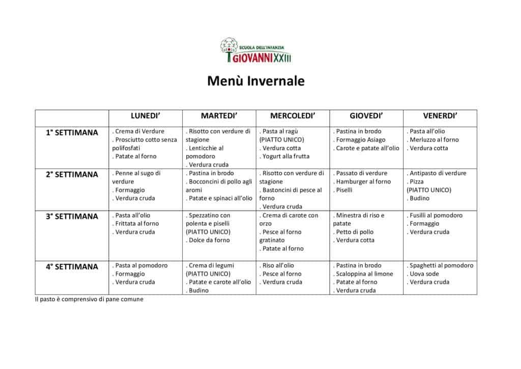 thumbnail of Menù Invernale